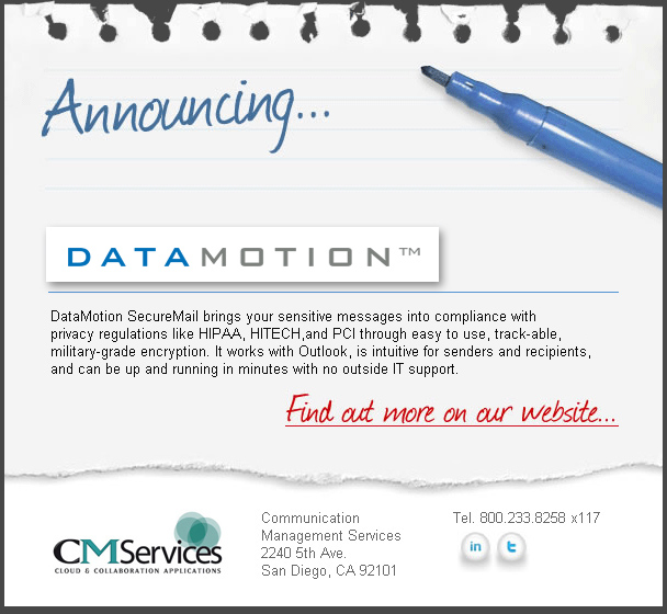 CMServices Announces New Datamotion to suite of SaaS services